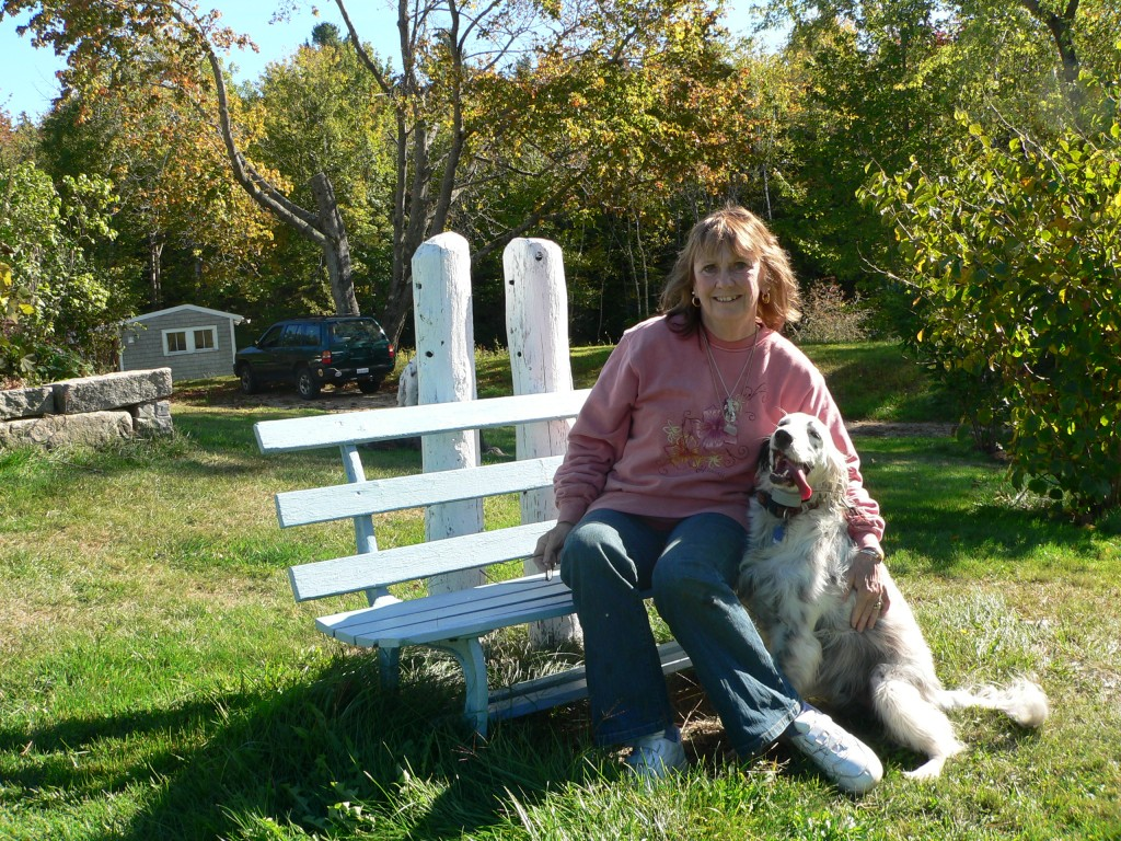 Me with one of my dogs at our island home